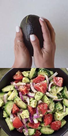 This fresh and delicious Avocado Tomato salad recipe is made with cucumbers, tomatoes, and avocados mixed in with a unique and flavorful dressing. So refreshing, perfect for the summer and pairs well with any meal as a side dish or enjoy on its own! Salad Recipes Healthy Lunch, Tomato Salad Recipes, Avocado Recipes, Healthy Meal Prep, Healthy Salad Recipes, Healthy Snacks, Healthy Eating, Healthy Chicken Recipes, Healthy Diet Foods