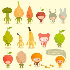 Lets food character fruits vegetables rabbit costumes Ilustraciones vectoriales sin derechos de autor
