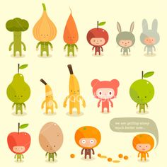 Lets food character fruits vegetables rabbit costumes Ilustraciones vectoriales sin derechos de autor