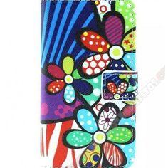 Funda divertida cartera diseño flores coloridas para tu Galaxy Core 2