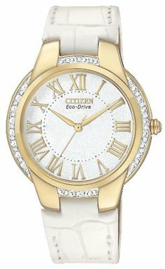 Citizen Women's EM0092-01A Ciena Eco-Drive Gold Tone Watch Citizen. $281.25. Eco-Drive, fueled by light. Stainless steel gold tone case with white leather strap. Water-resistant to 30 M (99 feet). Spherical mineral glass. 20 Diamond bezel