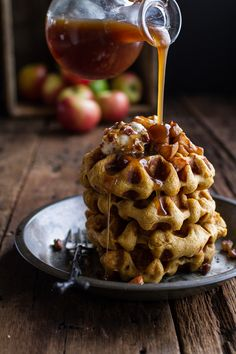 Overnight Cider Pumpkin Waffles w/Toasted Pecan Butter, Cider Syrup + Spiced Apples by halfbakedharvest #Waffles #Pumpkin #Overnight