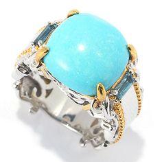 147-469- Gems en Vogue 12mm Sleeping Beauty Turquoise & London Blue Topaz Ring