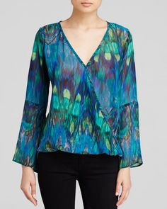Status by Chenault Peacock Print Crossover Top