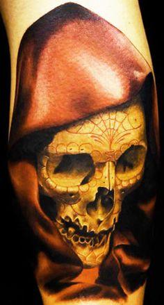 Tattoo Artist - Carlos Rojas - skull tattoo | www.worldtattoogallery.com