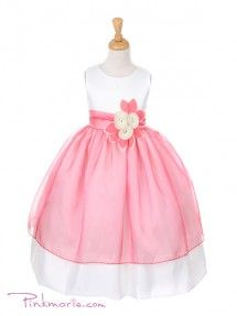 aa5152160c925 Ivory / Coral Satin Bodice with Colored Organza Girl Dress Coral Flower  Girl Dresses, Girls