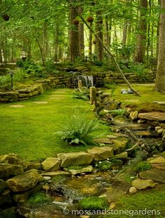 Beautiful moss garden- connecting the dry bed stream to the woodland garden. Garden Stones, Garden Paths, Garden Landscaping, Landscaping Ideas, Stone Landscaping, Garden Stream, Natural Landscaping, Wooded Backyard Landscape, Landscaping Borders