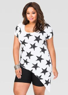 81093284a68 Star Asymmetrical Tee Star Asymmetrical Tee Plus Size Summer Outfit
