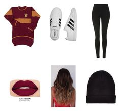 """""""Gryffindor"""" by hufflepuff394 on Polyvore featuring Topshop, adidas, Smashbox and New Look"""