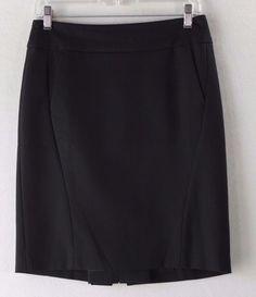 Ann Taylor Loft Solid Black Petite Women's Work Career Straight Skirt - Size 4P…