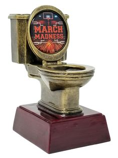 """A novelty """"last place"""" award that is perfect for someone who only knows a bracket as punctuation! Includes a personalized engraving plate with 3 lines of engraving. 30 characters/spaces per line! Basketball Trophies, Basketball Awards, Sports Basketball, Bracket Challenge, Trophy Engraving, Tank You, Sports Memes, Elm Street, Toilet Bowl"""