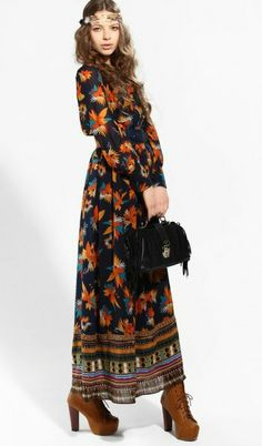 #sheinside Navy Long Sleeve Floral Buttons Full-Length Dress - Sheinside.com