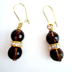 Very sweet and simple........Smoky Topaz and Gold Earrings Brown Dangle by cdjali on Etsy, $10.00