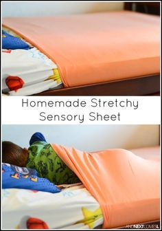 Tutorial for making homemade DIY stretchy lycra sensory sheets for kids with autism or sensory processing disorder.