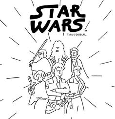 Artist Yu Nagaba brings his unique style to the Star Wars™ universe! Meet Han Solo and the other Star Wars™ characters in his life with this new, simple, and stylish theme. Poster Drawing, Drawing Sketches, Drawings, Stylish Themes, Dress Painting, Line Artwork, Star Wars Han Solo, Disney Sketches, Black And White Pictures