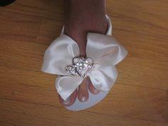 Romantic Bride Wedding Flip Flops on Wedge Heel by rocktheflops, $33.00