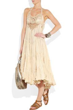 Sestra Moja  Waterfall cotton-cheesecloth dress