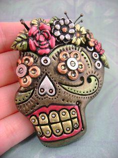 Metallic Sugar Skull clay brooch by monsterkookies.deviantart.com on @deviantART