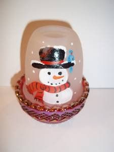 Mosser Glass Christmas Snowman Blue Jay Ruby Red Carnival Base FAIRY LIGHT LAMP