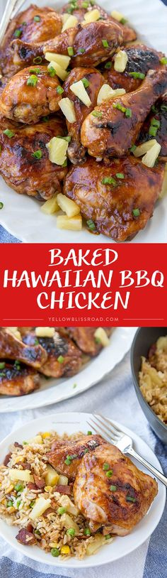 Hawaiian Barbecue Baked Chicken (Huli-Huli Chicken) - Chicken drumsticks and thighs that are marinated in a Hawaiian inspired sauce then baked to mouthwatering perfection (Protein Bake Goods) Bbq Chicken, Chicken Drumsticks, Baked Chicken, Hawaiian Chicken, Pineapple Chicken, Chicken Spaghetti, Chicken Legs, Teriyaki Chicken, Turkey Recipes