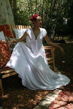 Ivory Silk Knit Bridal Nightgown Wedding by SarafinaDreams on Etsy