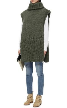 Green Wool Sleeveless Poncho by I LOVE MR. MITTENS Now Available on Moda Operandi