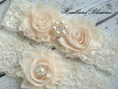 Beautiful CREAM Bridal Garter Set  Ivory by HeadbandBlossoms