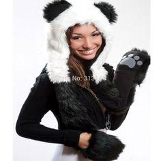 Faux Fur Hood Animal Womens/Mens 3 in 1 Hat Panda Plush Winter Warm Cap with Long Scarf Mittens Gloves