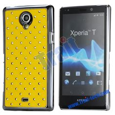 Shining Stars Diamond Grids Electroplate Mirror Back Cover Case for Sony LT30i Xperia Z (Yellow)