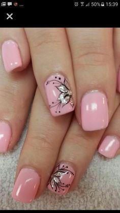Square Nail Designs, Flower Nail Designs, Flower Nail Art, Toe Nail Designs, Pink Nail Art, Pink Acrylic Nails, Gel Nail Art, Pink Nails, Nail Polish