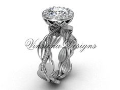 14kt white gold diamond leaf and vine engagement ring VF301021