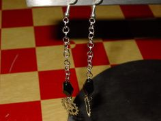 Silver Steampunk Black Glass Bead & Watch by VintageBellissima, $10.00