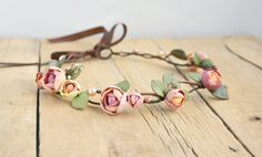 Rose flower crown Wedding flower crown by JewelryByCompliment