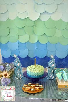 Under the sea birthday party dessert table and scale backdrop! See more party ideas at CatchMyParty.com!