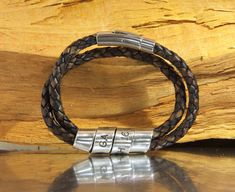 Men's Personalized Bracelet Hand Stamped Brown by NadineJewelry