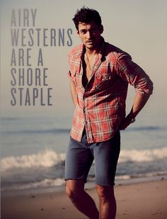 LUCKY BRAND JEANS, SUMMER 2012 CATALOG Photographer: GUY AROCH; Stylist: SARAH LOWE Model: David Gandy