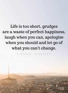 Life is too short, grudges are a waste of perfect happiness, laugh when you can | Life Quotes - Quotes