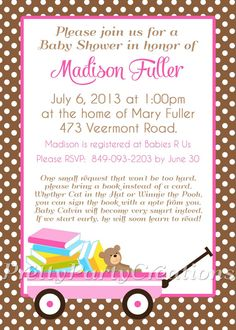 BRING A BOOK baby shower invitation - You Print - pink or brown - 2 to choose. $11.50, via Etsy.