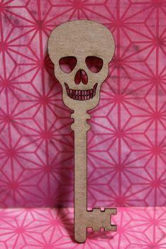 Skeleton Key-Skull Laser Cut Chipboard Die Cut