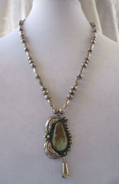 Vintage NAVAJO Sterling Silver & TURQUOISE NECKLACE Melon Beads, Squash Blossom