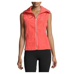 Neiman Marcus Funnel Neck Quilted Tech Vest, Red Orange ($60) ❤ liked on Polyvore featuring outerwear, vests, red vest, red sleeveless vest, sleeveless vest, quilted vest and red waistcoat