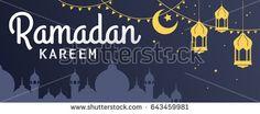 Ramadan Kareem horizontal vector banner, text in left with lantern and Mosque. Ramadan Kareem ads, flyer, invitation, greeting card. Islamic background.