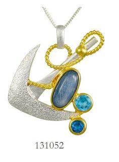 Kyanite, Blue Topaz and Teal Topaz pendant  - Poseidon's Treasures Collection