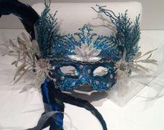 Mermaid Mask- turquoise feather Mask - Under the sea Mask- Costume party mask- Masquerade Ball- Mardi Gras Mask
