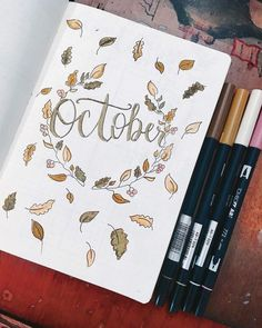 Bullet journal monthly spread- gorgeous autumn inspired cover page gives wonderful ideas for the fall months!