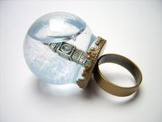 globe ring big ben tower london uk united kingdom england glass dome city snow globe brocade mini terrarium ring miniature terrarium jewelry. $65.00, via Etsy.