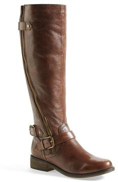 Steve Madden 'Synicle' Boot (Women) CAD Item A curved zipper flies up the  leather shaft of a riding boot with buckle detailing at the ankle.
