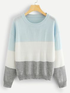To find out about the Drop Shoulder Color Block Sweater at SHEIN, part of our latest Sweaters ready to shop online today! Fashion Sale, Fashion News, Fashion Fashion, Fashion Women, Vintage Fashion, Cool Outfits, Fashion Outfits, Casual Sweaters, Color Block Sweater