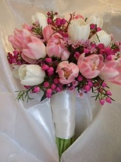 Satin and Pink Tulip Wedding Bouquet personal