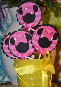 Minnie Mouse Black and Pink Themed CupCake Toppers